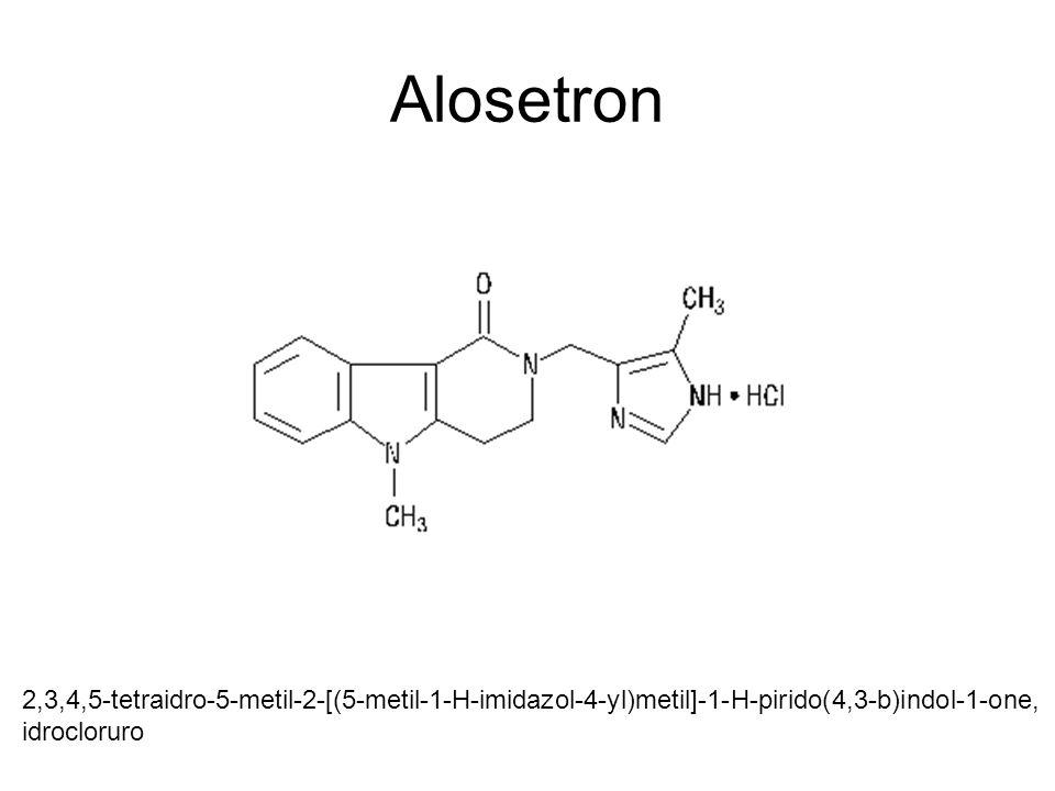 Alosetron 2,3,4,5-tetraidro-5-metil-2-[(5-metil-1-H-imidazol-4-yl)metil]-1-H-pirido(4,3-b)indol-1-one,